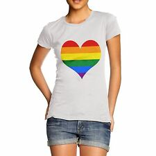 Women Quirky Novelty Joke Funny Gift Gay Full Heart Cute Rainbow T-Shirt