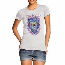 Twisted Envy Women's Rock star Lion 100% Organic Cotton T-Shirt