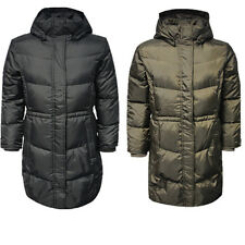 Timberland Womens Down Zip Hooded Puffer Black Khaki Quilted Jacket (1255J) DR3