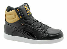 46e6896c602b46 Puma Ikaz Hi Satin Womens Hi Top Trainers Black Gold Leather 356325 01 D113