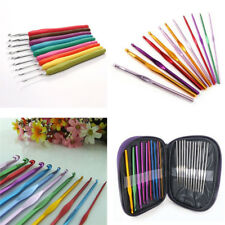9 12 Aluminum Crochet Hooks Needles Yarn Knitting Set Multi Colour Kit Craft UK