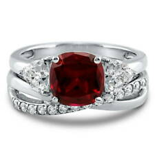 Silver 3.09 CT Cushion Simulated Ruby CZ 3-Stone Criss Cross Engagement Ring Set