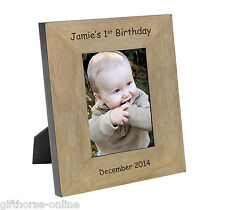 '1st Birthday' Personalised Oak Veneer Wooden Photo Frame - 2 Sizes 4x6 & 5x7