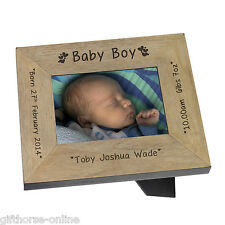 'Baby Boy' Personalised Oak Veneer Wooden Baby Photo Frame - 2 Sizes 4x6 & 5x7