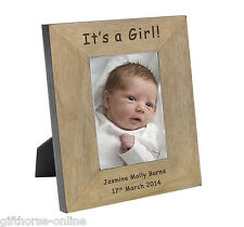 'It's a Girl!' Personalised Oak Veneer Wooden Photo Frame - 2 Sizes 4x6 & 5x7