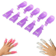 10PC Plastic Nail Art Soak Off Cap Clip UV Gel Polish Remover Wrap Tool