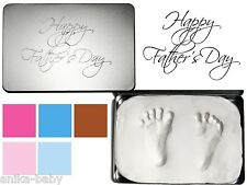 New Fathers Day Gift Baby Handprint Footprint Kit Clay Imprints Keepsake Tin Box