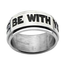 Official S Steel Black MAY THE FORCE BE WITH YOU Spinner Ring - Star Wars Boxed