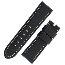 Panerai Style Carbon Leather Watch Strap in BLACK
