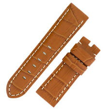 Panerai Style Alligator Embossed Watch Strap in BROWN / WHITE