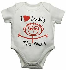 I Love Daddy This Much Funny Personalised Baby Vest Bodysuit BabyGrow Boys Girls