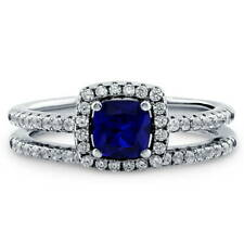 BERRICLE Silver 0.745 CTW Cushion Simulated Sapphire CZ Halo Engagement Ring Set