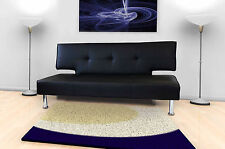 Modern Italian Designer 2/3 Seater Sofa Bed Black/White Faux Leather New Cheap