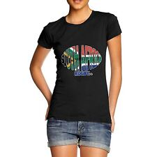 Twisted Envy Women's South Africa Rugby Ball Flag Organic Cotton T-Shirt
