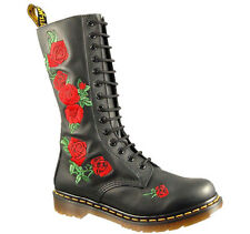 Dr Martens Vonda Womens Black Rose Leather Mid Calf Boots