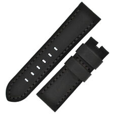 Panerai Style Vintage Leather Watch Strap in BLACK