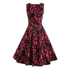 1950's Retro Rockabilly Womens Vintage Style Evening Party Floral Swing Dress