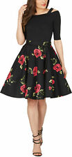 Stunning Floral Vintage Rockabilly Full Circle 1950's Flared Swing Skirt