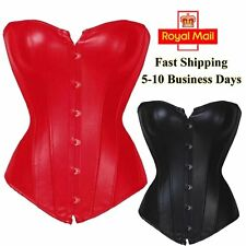 Sexy Women Overbust Corset Faux Leather Boned Basque Waist Cincher Plus size UK