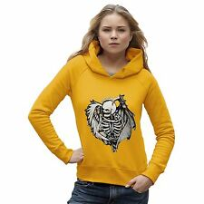 Twisted Envy Women's Skull With Angel Wings Organic Cotton Hoodie