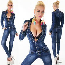 Sexy Women's Denim Jumpsuit Dark Blue Wash Catsuit Skinny Jeans Overall 6-14