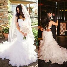 Plus Size Organza Wedding Dresses 2016 Ruffles Mermaid Bridal Dress Gown NEW