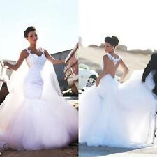 Sheer Back Lace Wedding Dresses 2016 New Mermaid Bridal Dress Gown Custom Size