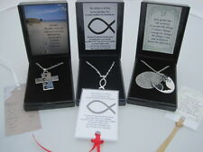 INSPIRATIONAL RELIGIOUS FOOTPRINTS SERENITY PRAYER ICHTHYS PENDANT NECKLACE +FP