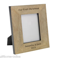 'Our 1st Christmas' Personalised Oak Veneer Wooden Photo Frame - 4x6 or 5x7
