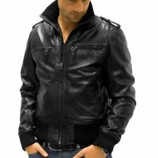 V4M Men's Stylish Bomber Leather Jacket (100%Genuine Leather)