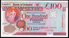 bank of ireland ltd belfast £100 banknote  1992 1995  2005 VF++ AUNC UNC