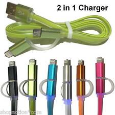 2 in 1 glow dual charger micro USB & 8 pin for iphone 6 6s Samsung HTC Android