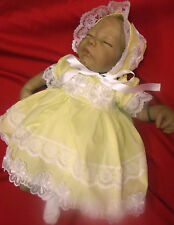 DREAM BABY GIRLS LEMON VIENESE FLOWERS DRESS BONNET NB 0-3 3-6 MONTHS OR REBORN