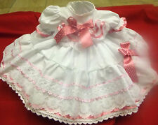 DREAM BABY GIRLS FRILLY WHITE/PINK NETTED DRESS NEWBORN 0-3 3-6 MONTHS OR REBORN
