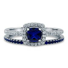 BERRICLE Silver 0.89 CTW Cushion Simulated Sapphire CZ Halo Engagement Ring Set