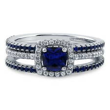 BERRICLE Silver Cushion Simulated Sapphire CZ Halo Engagement Ring Set 1.14 CTW