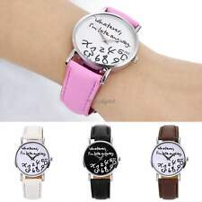 Fashion Large Dial Women Synthetic Leather Quartz Analog Letter Wrist Watch 35DI