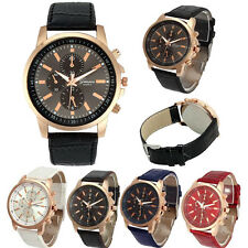 Unisex Watch Stainless Steel Leather Band Women Quartz Analog Wrist Watch