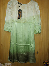 Unique Boutique 100% Silk Tunic Dress Cream Green 3/4 Sleeve Loose Fit New S M L