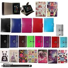 Universal Leather Wallet Case Cover Stand Fits Hipstreet Electron 8 Inch Tablet