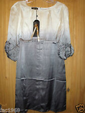 Unique Boutique 100% Silk Tunic Dress Cream Grey 3/4 Sleeves Loose Fit New M L