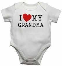 I Love My Grandma - New Personalised Baby Vests Bodysuits for Boys, Girls