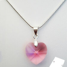 925 Sterling Silver Necklace Made with Swarovski Elements Crystal Heart Pendant