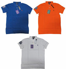 Ralph Lauren Mens Wimbledon Tennis Solid Pony Logo Custom Fit Slim Polo Shirt