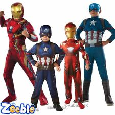 Kids Captain America or Iron Man Costume CIVIL WAR Boys Superhero Fancy Dress