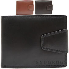 Mens Genuine Soft Leather Bi-Fold Wallet with Multiple Features