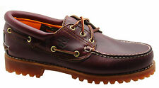 Timberland 3 Eye Classic Lug Mens Boat Shoes Deck Red Brown Leather 50009 D5