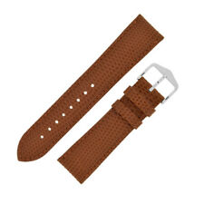 Hirsch RAINBOW Lizard Embossed Leather Watch Strap and Buckle in GOLD BROWN