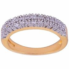 NEW ONE GRAM GOLD PLATED FINGER RING CUBIC ZIRCONIA AMERICAN DIAMOND F483