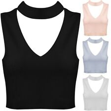 New Cut Out Plunge V Neck Choker Collar High Neck Crop Top Vest Tank Bralet